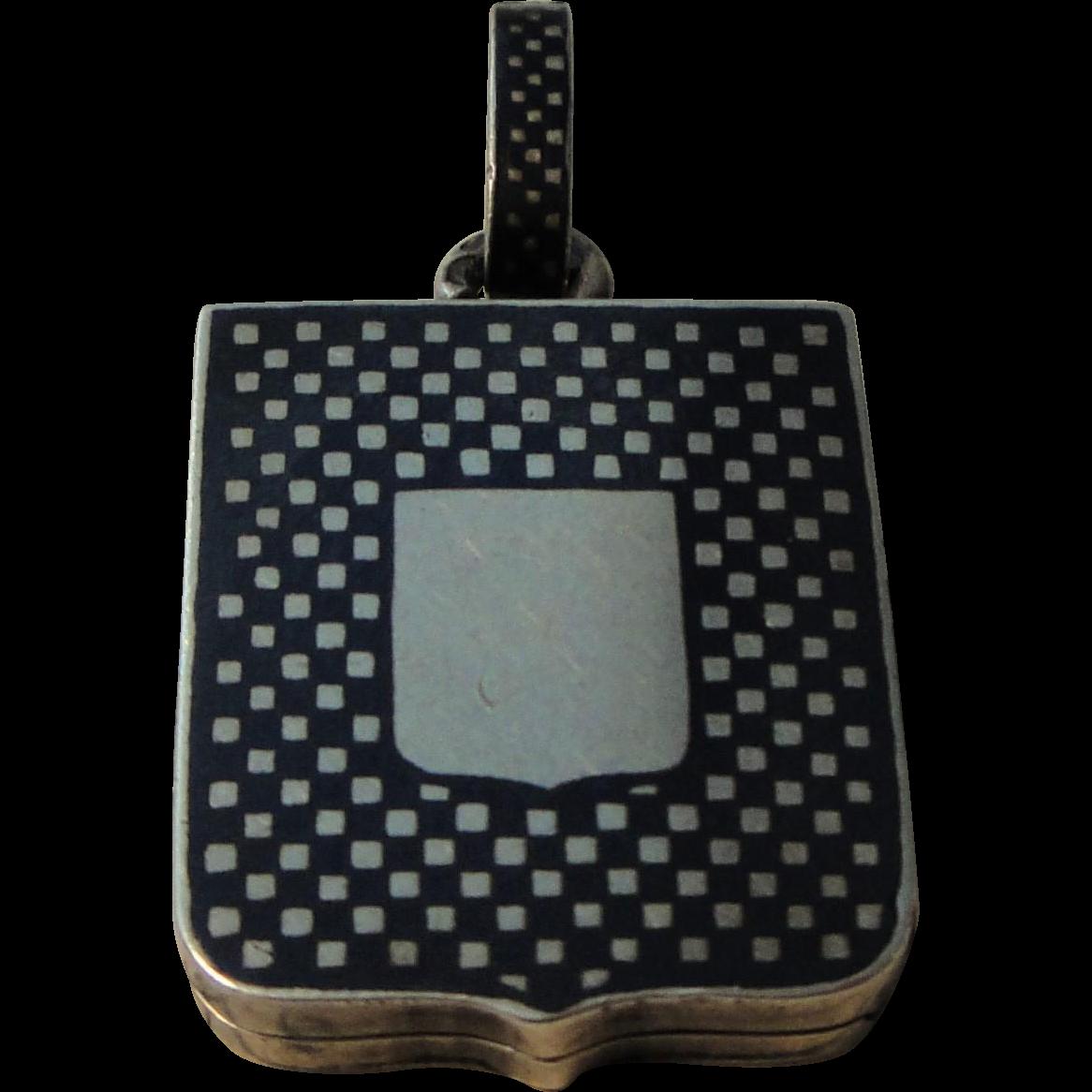 Antique French Sterling Silver Niello Locket / Pendant / Shield c1900