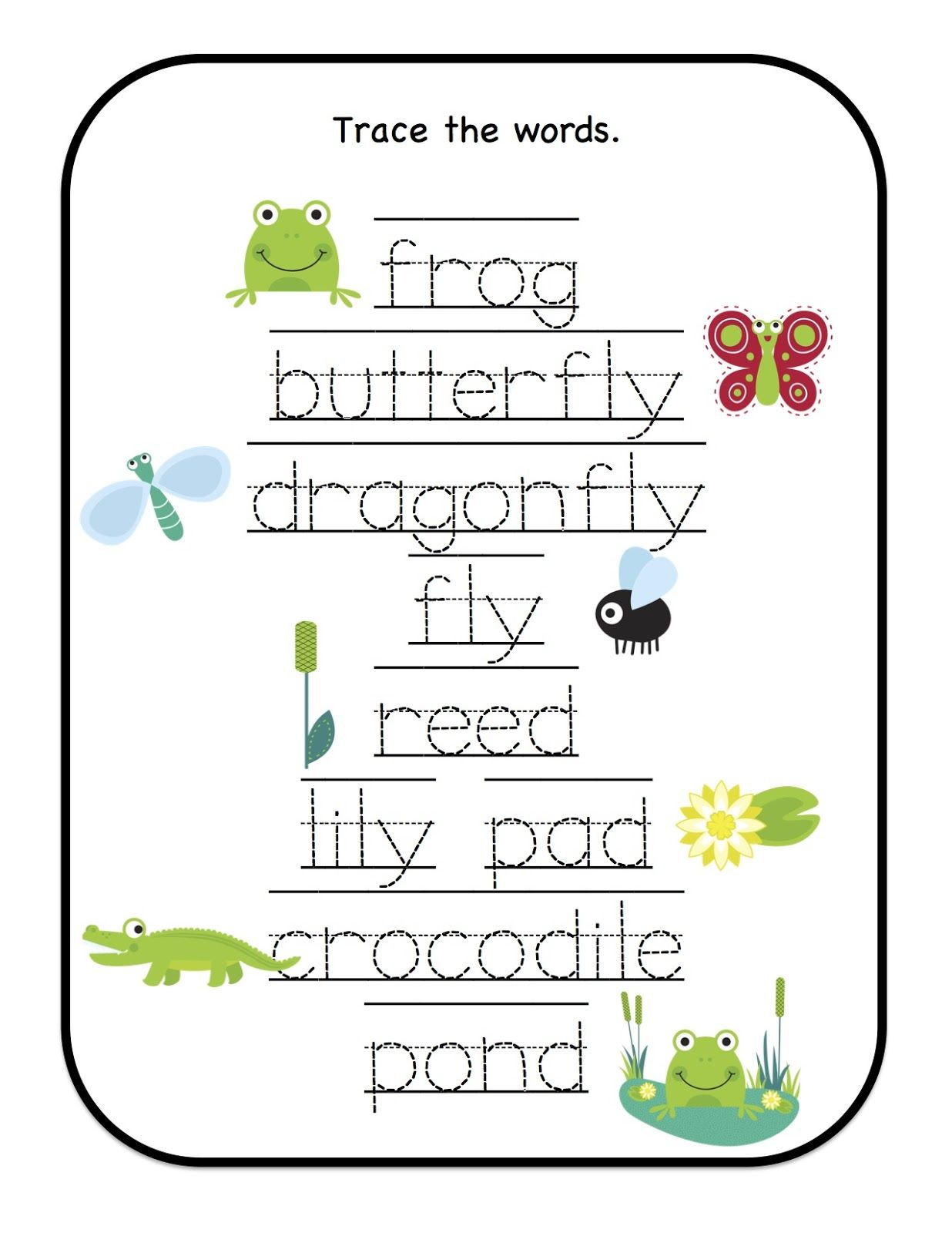 Preschool Printables Down By The Pond Printable Many Trace The Words Worksheets On Different