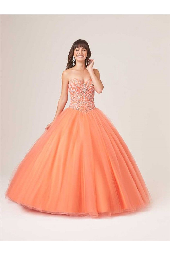462fb4968d88 Ball Gown Strapless Drop Waist Orange Tulle Beaded Corset Quinceanera Prom  Dress