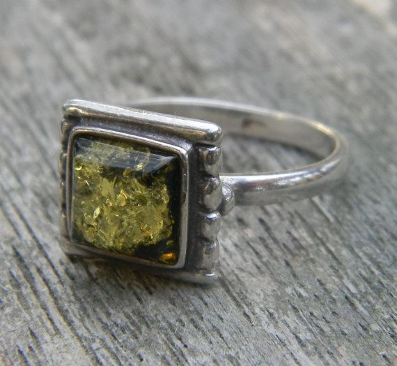 Vintage Green Amber Sterling Ring  http://www.etsy.com/listing/86090731/vintage-green-amber-sterling-ring