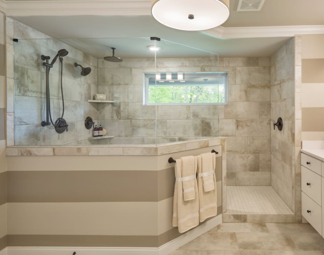 Cotto Contempo Pennsylvania Avenue Cc12 12x24 Wall Tile With Keystone 2x2 D617 Arctic White Mud Pan Tile Bathroom Wall Tiles Bathtub