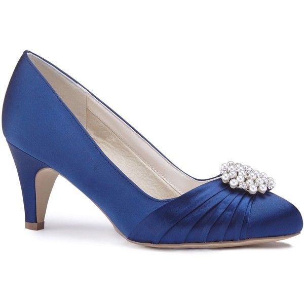 Blue satin 'Alaina' mid heel stiletto court shoes outlet 2015 cheap cost OPAZUT