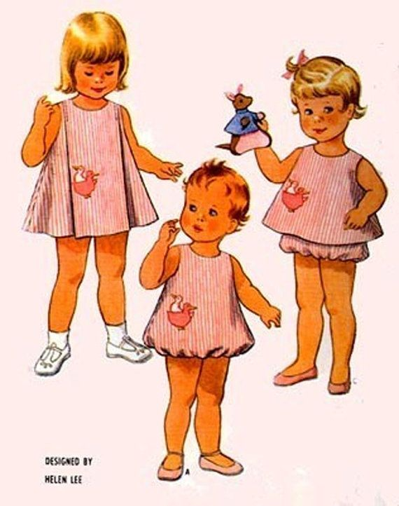 1960s Vintage sewing Pattern McCalls 8121 Toddlers Bubble Romper ...