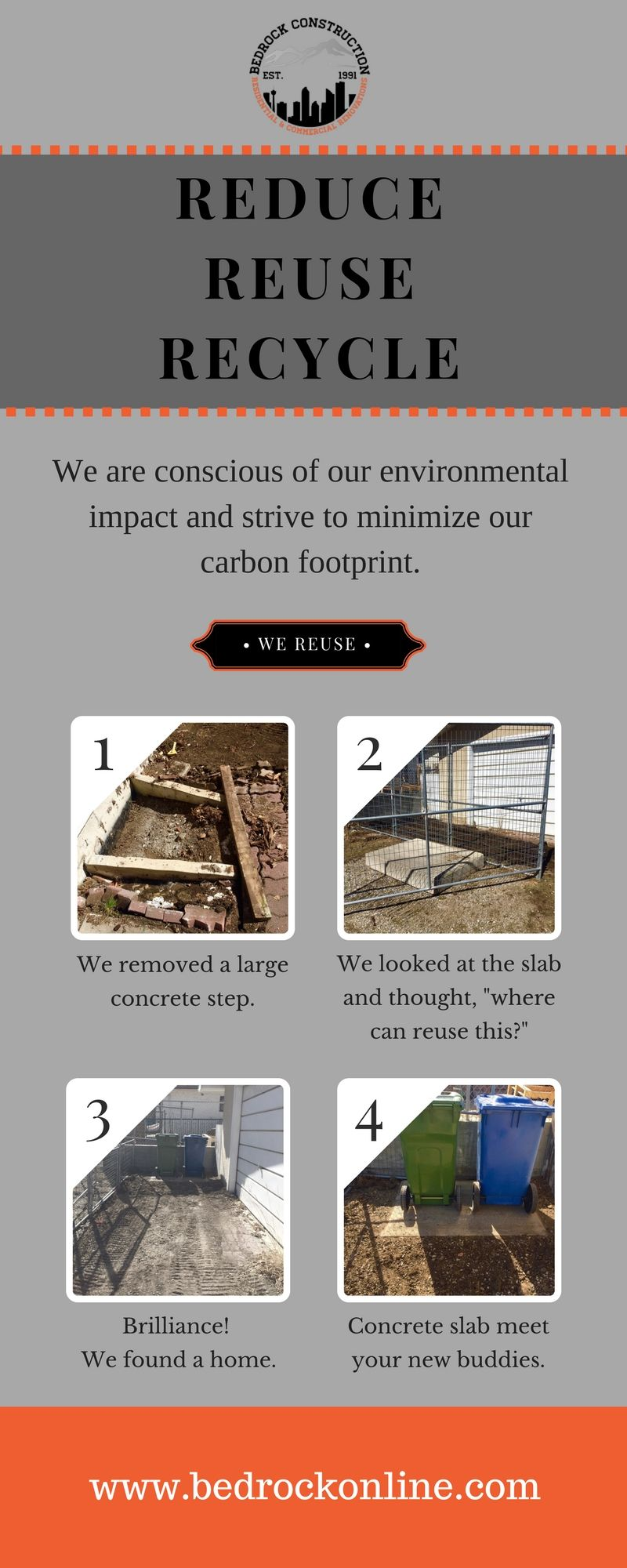 Bedrock Construction Is Conscious Of Our Environmental Impact And Strives To Minimize Its Carbon Footprint Carbon Footprint Bedrock Environmental Impact