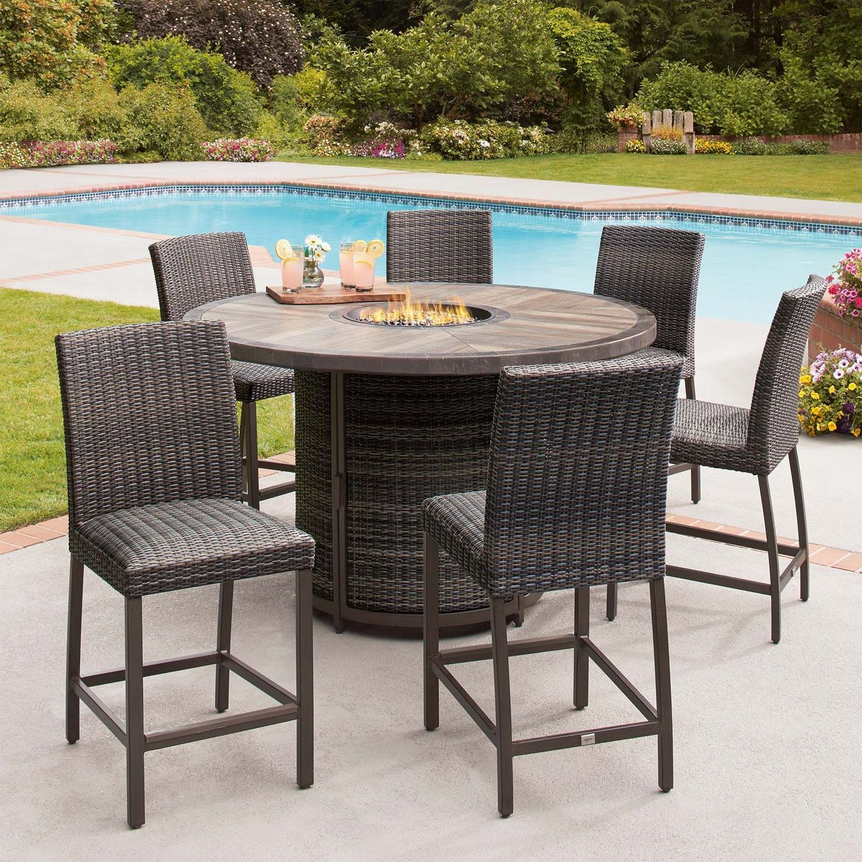 St Louis 7 Piece High Dining Set With Fire Costco Patio