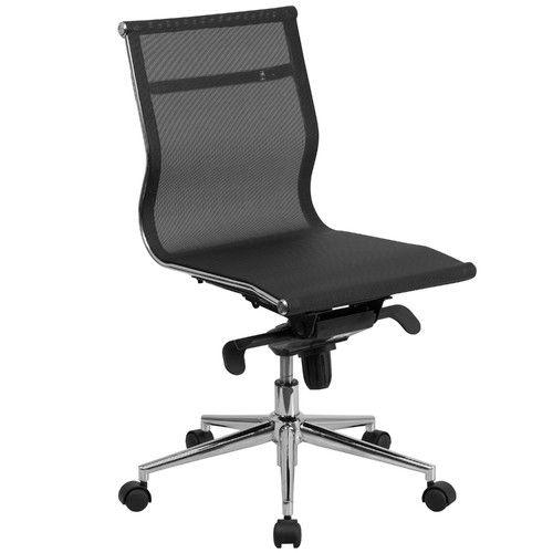 Armless Swivel Desk Chair Mid Back Armless Black Mesh Executive Swivel Office  Chair With Synchro Tilt Mechanism