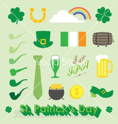 St Patricks Day Icons And Symbols Vector By Jamesdaniels On