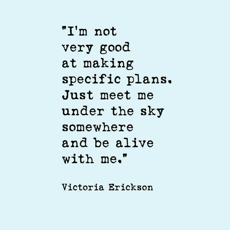 I'm not very good at making specific plans. Just meet me under the sky somewhere and be alive with me. Victoria Erickson