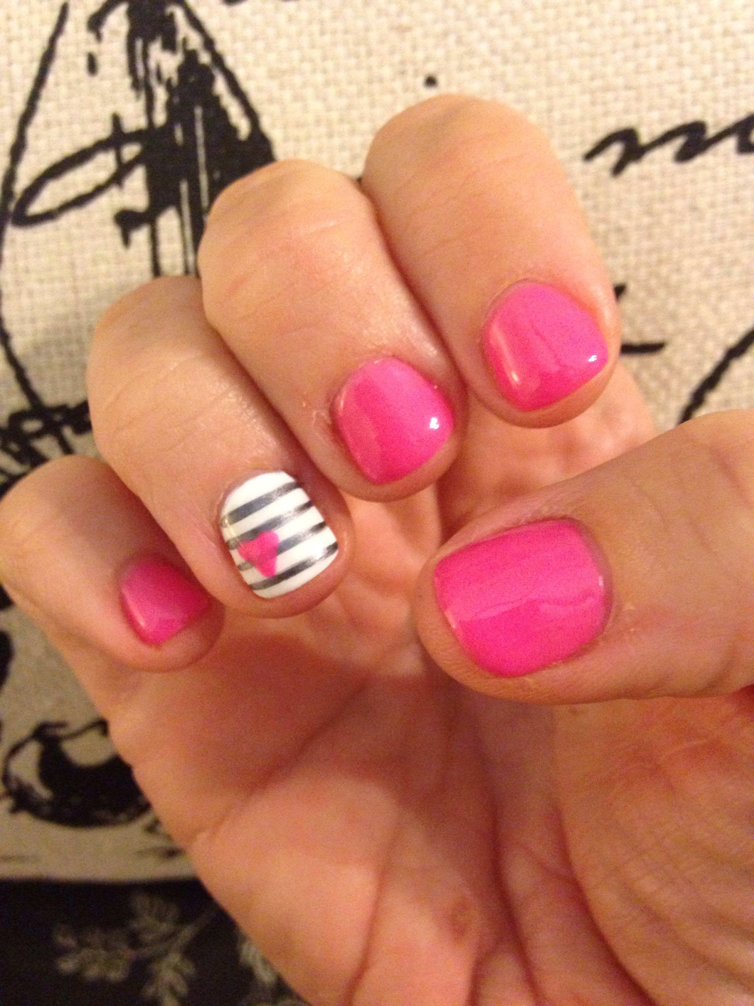 Pink Shellac Nails With Accent Nail White Gray Stripes Pink
