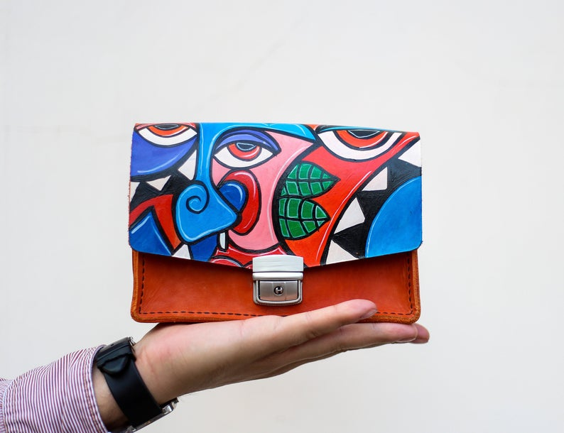 Hand Painted Handbag Purse Shoulder Bag Original Artwork Etsy In 2020 Hand Painted Bags Handbags Hand Painted Leather Bag Painted Leather Bag