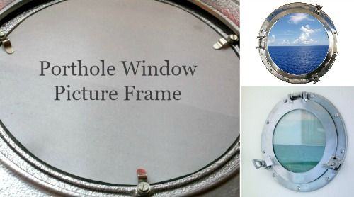 Turning an inexpensive porthole window into a picture frame! My porthole ocean view: http://www.completely-coastal.com/2016/02/porthole-window-picture-frame.html