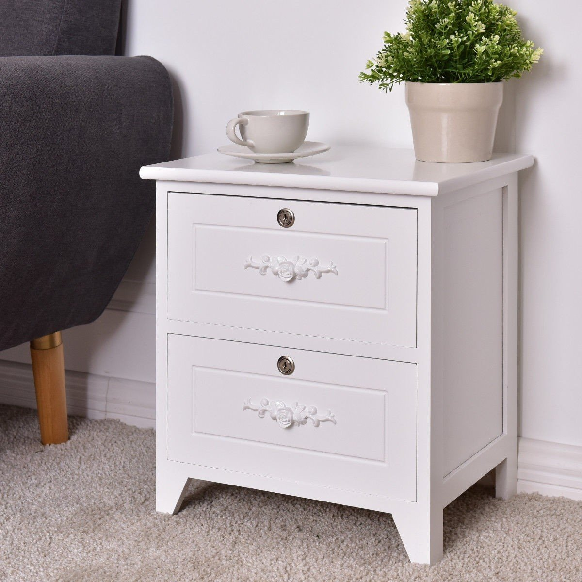 Solid Wood Elegant Storage Nightstand W 2 Locking Drawers Wood