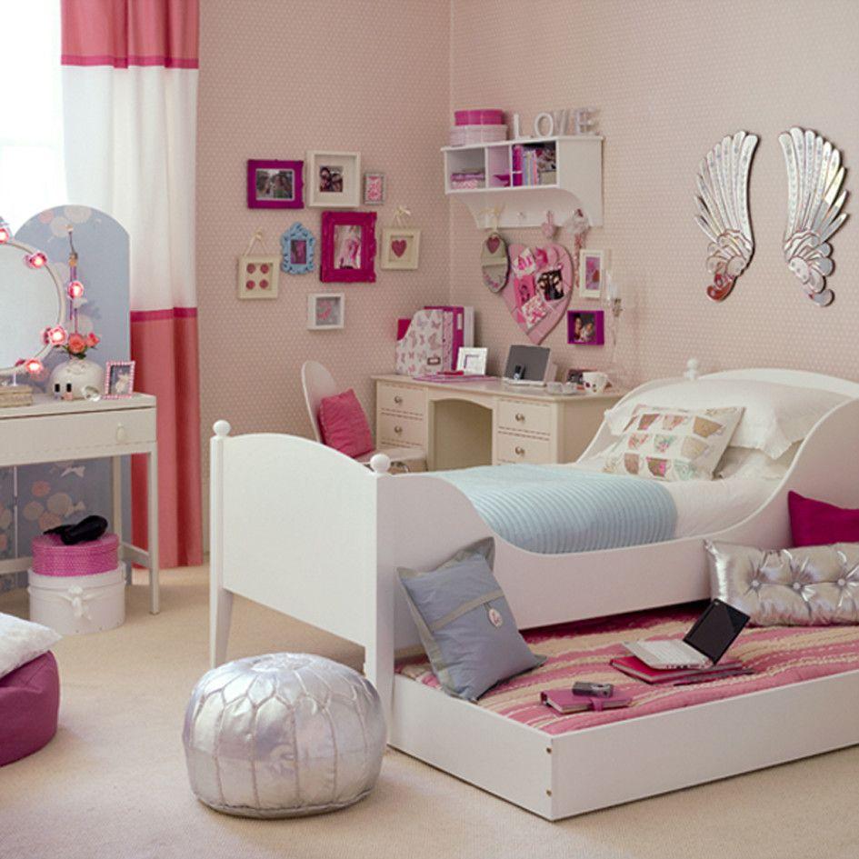 Bedroom, Girls Bedroom Bed Cover Blue Mattress White Pillow White Carpet White Study Desk Wood White Cabinet Wood White Curtain White And Re...