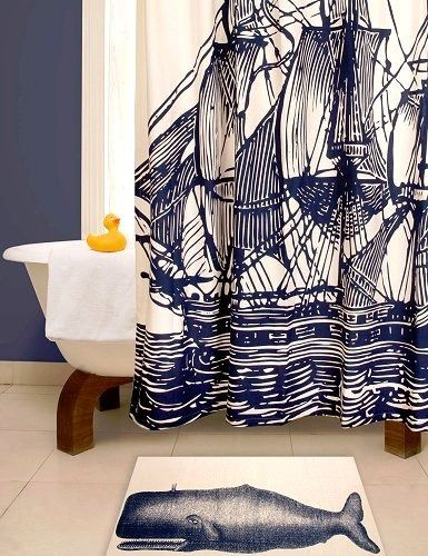 Nautical Boat Shower Curtain And Blue Whale Bath Mat
