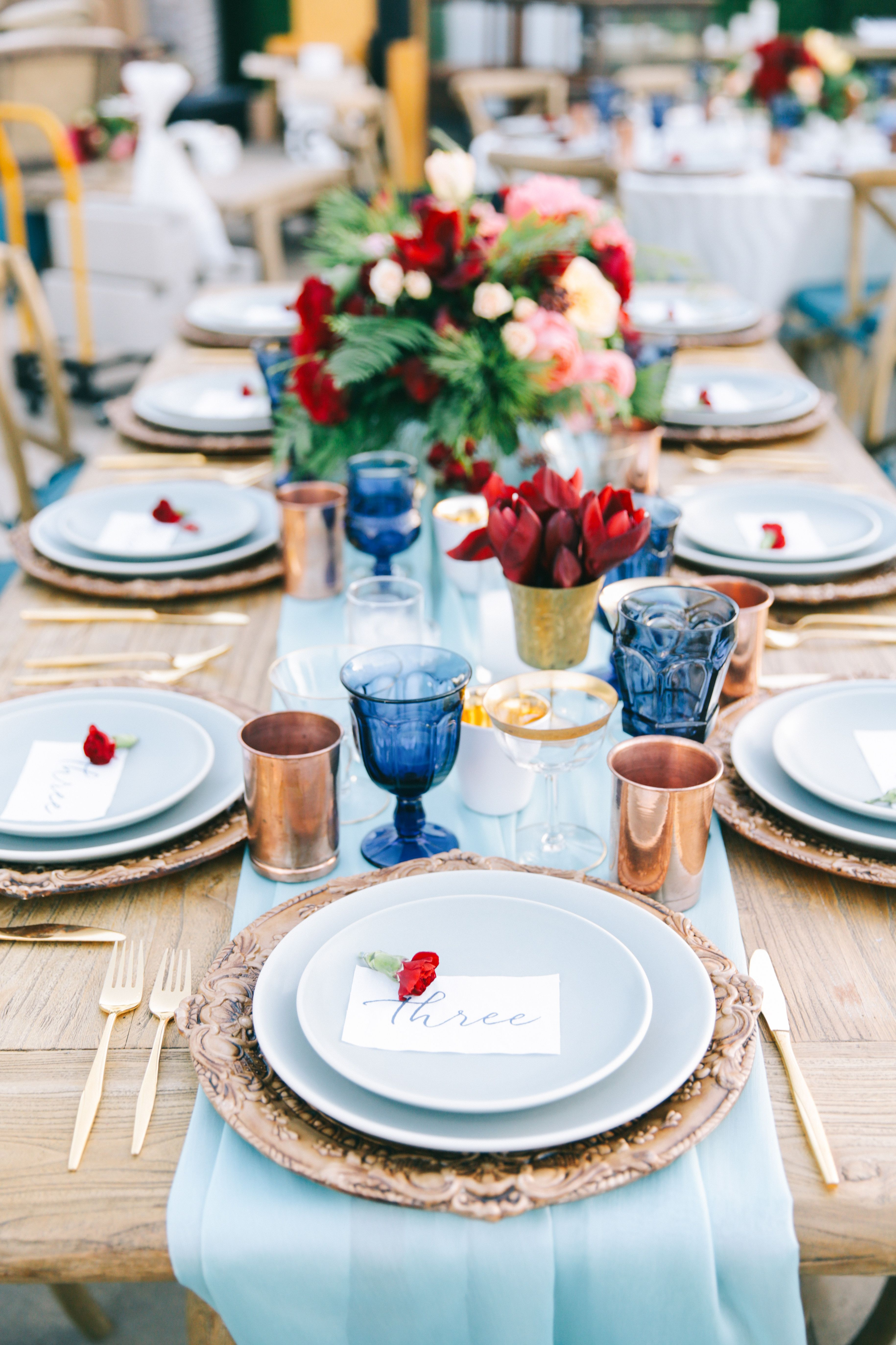 Page Blue Dinner Plates and Table Runners elegant table setting