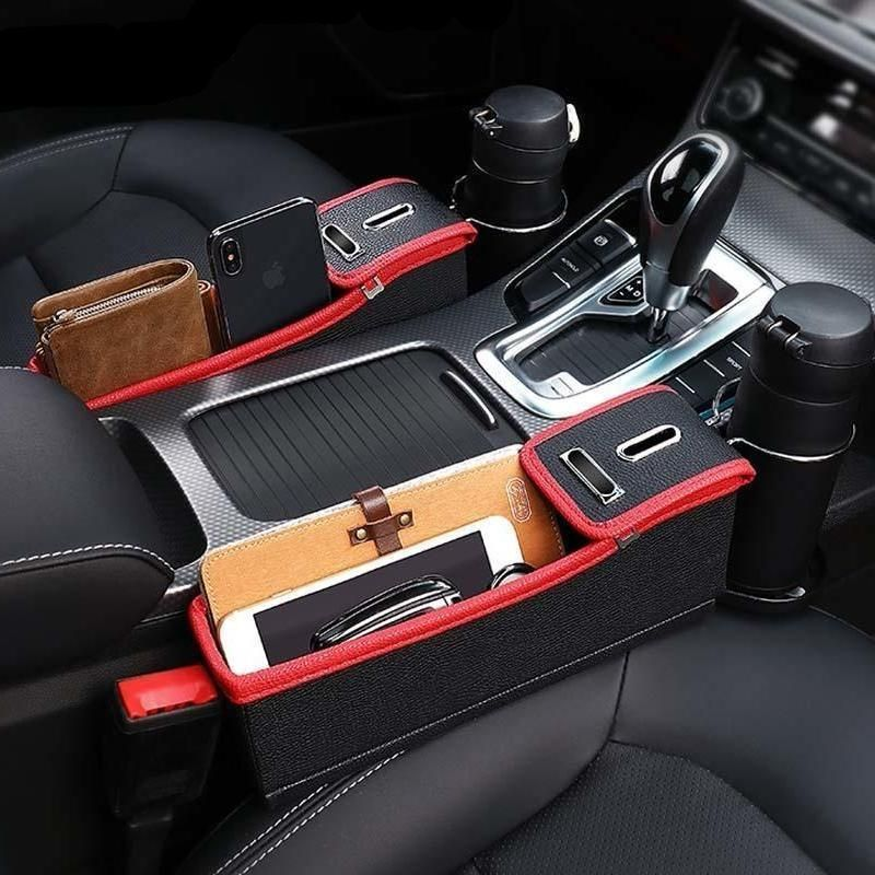 Car Seat Crevice Storage Box – Black/Red – Driver Side