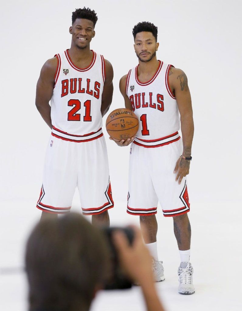 Derrick Rose wearing the  Home  adidas D Rose 6  fa7e5f354c37