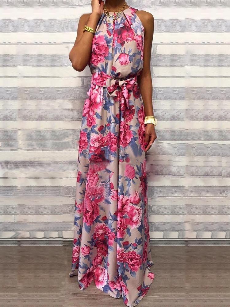 8d84bf74cdd Floral Print Sleeveless Belted Maxi Dress