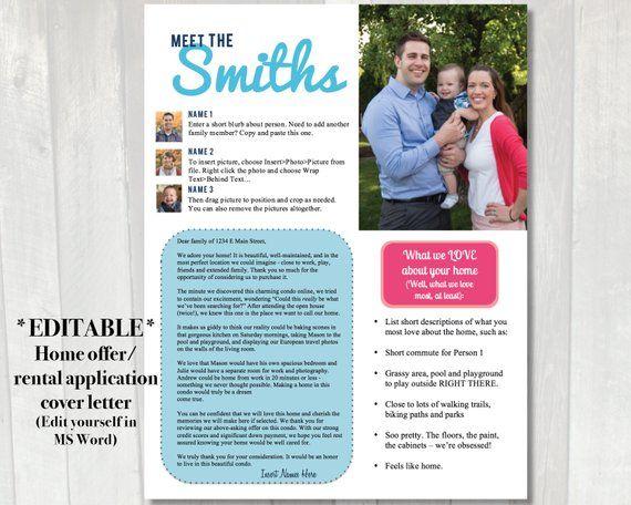 EDITABLE Home offer letter | Customizable cover letter for ...