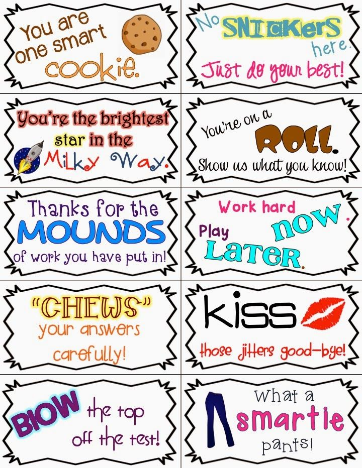 Motivational Test Quotes For Students: Candy & Snack Motivational Test Phrases