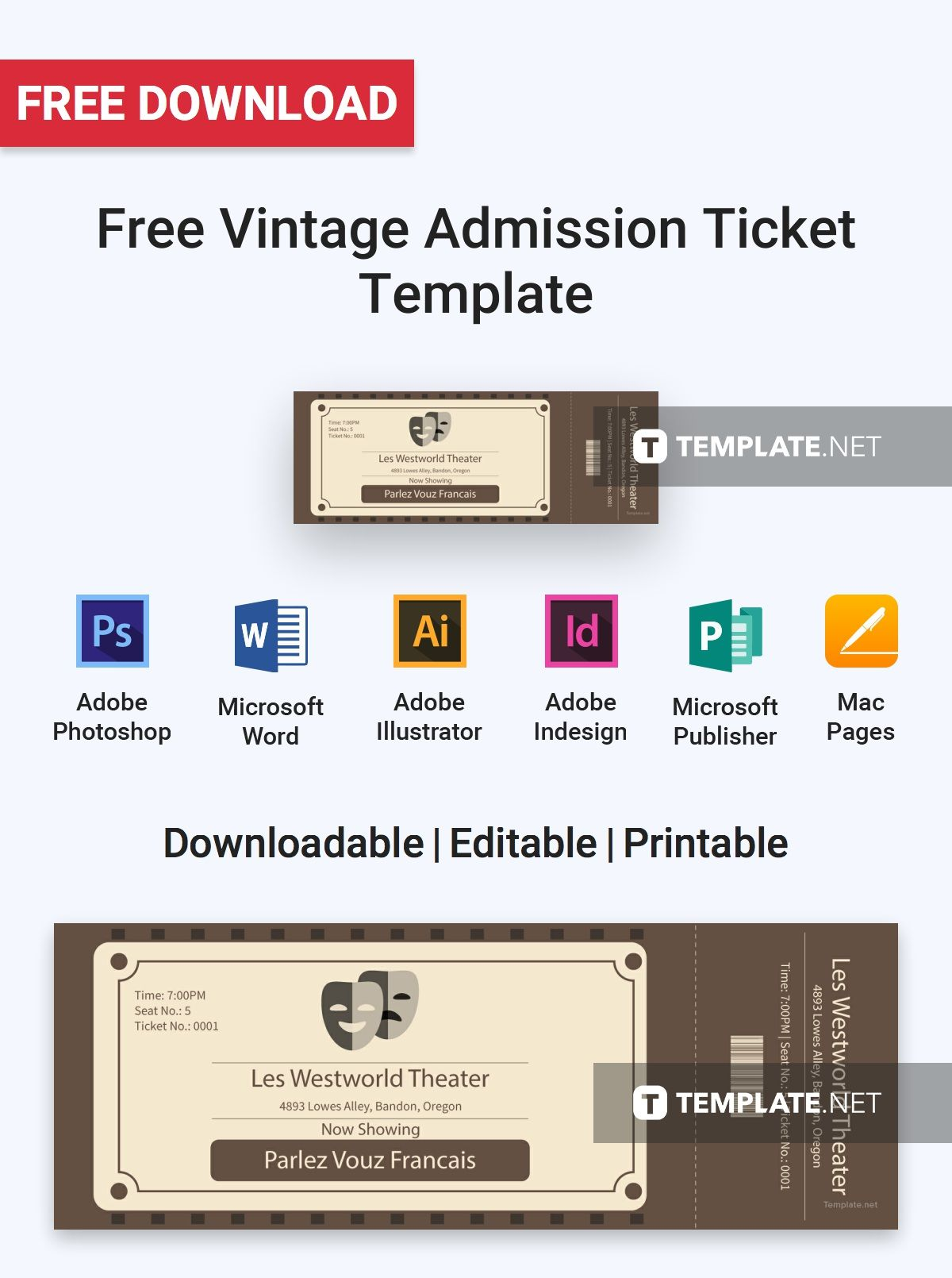 Free Vintage Admission Ticket Ticket Template Ticket Template