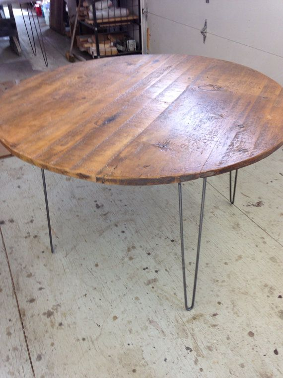Round Dining Table Reclaimed Wood With Metal Hairpin Legs Dining