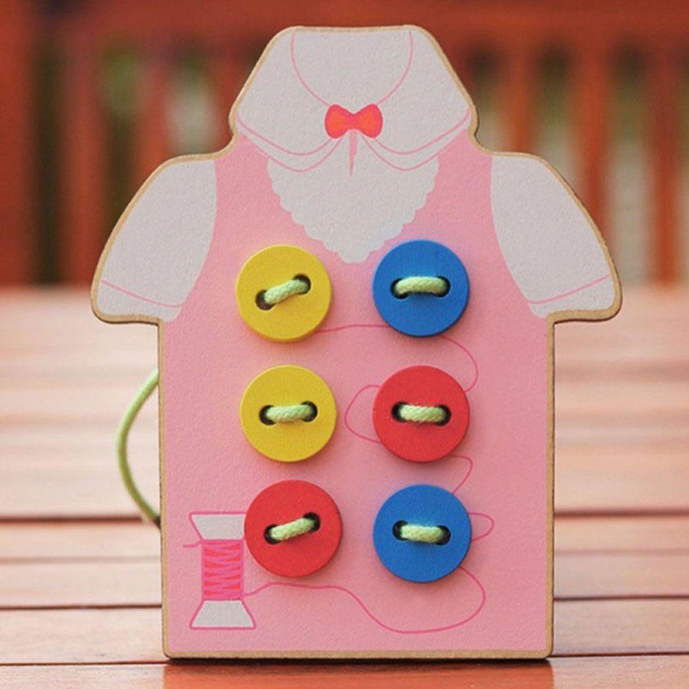 مونتيسوري التعليمية ألعاب خشبية للأطفال الخرز الحبال متن لعب طفل خياطة على أزرار التعليم المبكر ال Diy Gifts For Kids Educational Toys For Kids Wooden Toy Gift
