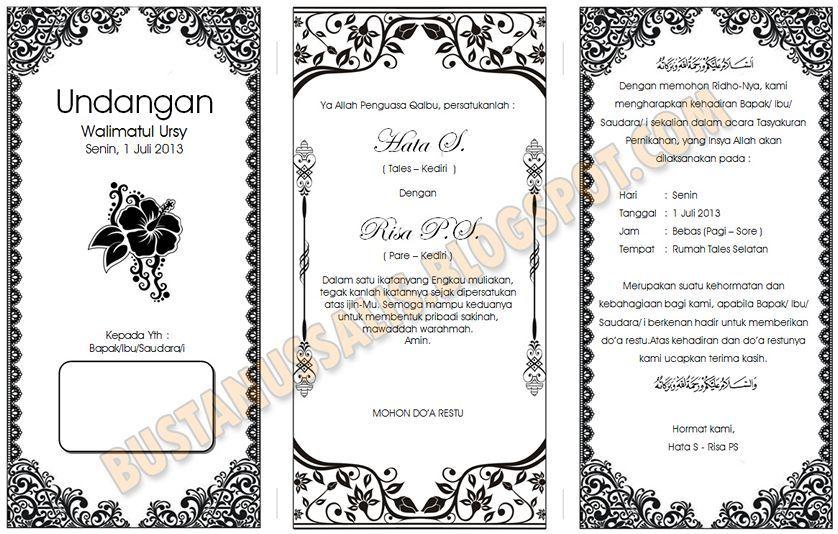 Download Template Undangan Walimatul Ursy Tahlil Dan Aqiqah Dengan Kartu Pernikahan Undangan Desain Pamflet