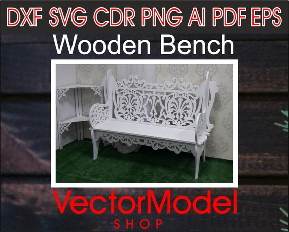Bench - decorations, wedding, wooden laser cut CNC File Vector Art