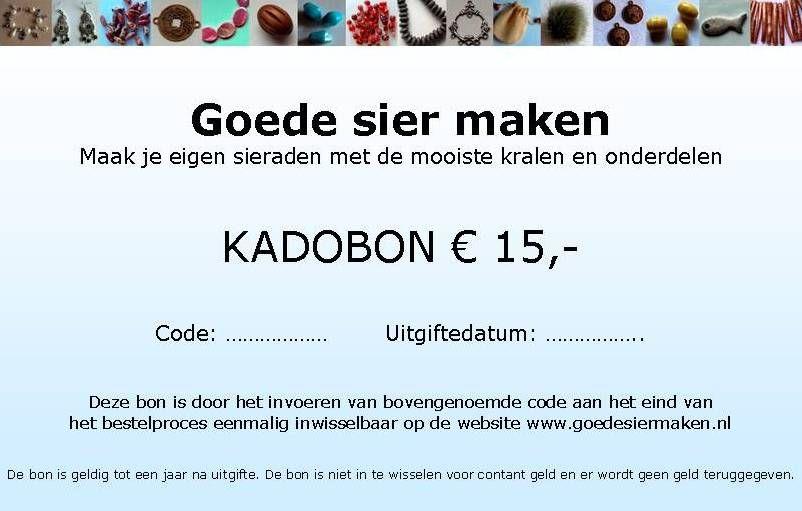 Kadobon Cadeaubon Kado bon Waardebon met bedrag naar keuze. Te besteden op www.goedesiermaken.nl of er kan ter waarde van het bedrag van de bon een sieraad op maat worden gemaakt, in de kleur- en materiaalstelling naar keuze.