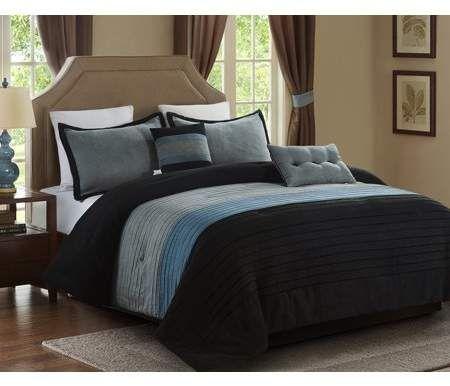 Lorient Home 5 Piece Micro Suede Comforter Set Full Queen Black