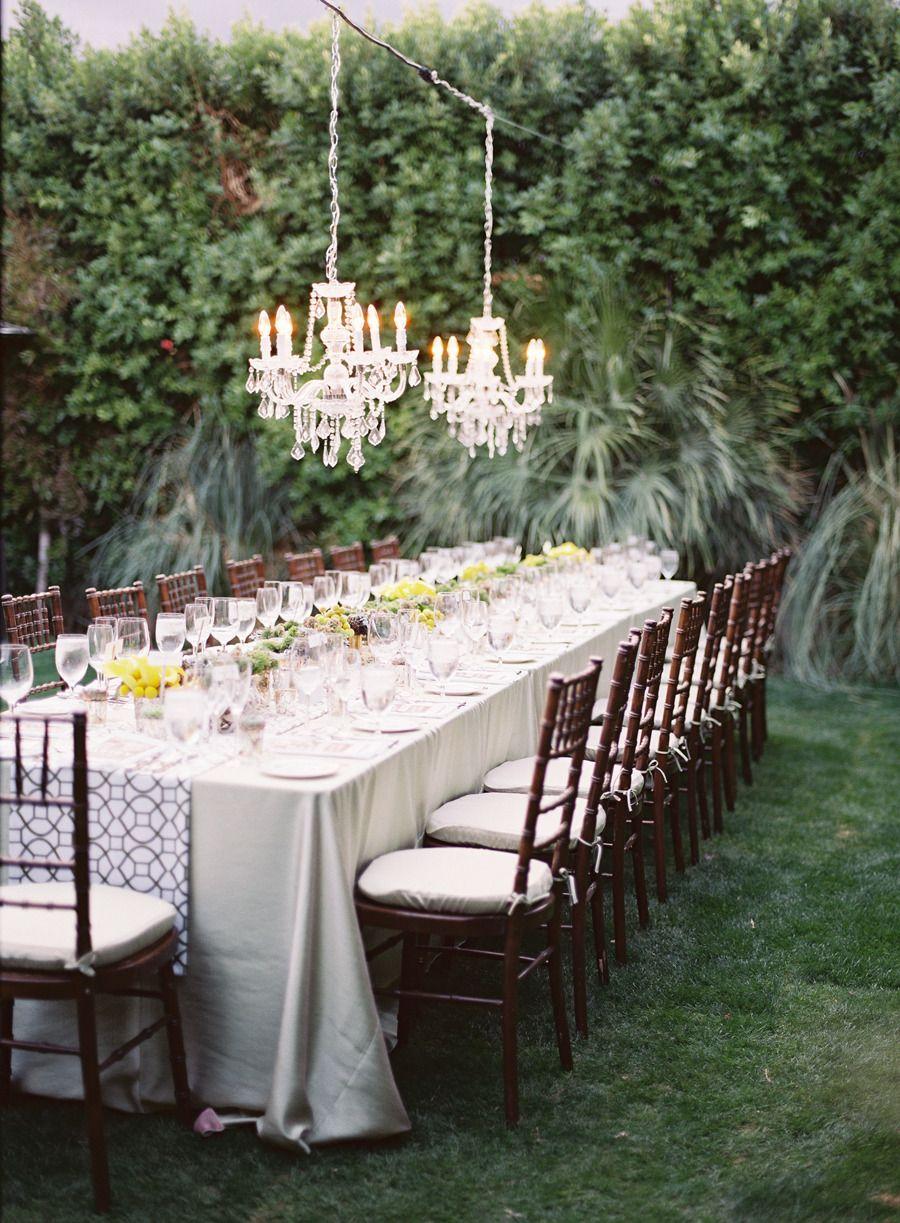 #tablescapes, #chandelier  Photography: Michael Radford Photography - michaelradfordphotography.com Floral Design: Maggie Jensen Event Floral Design - www.facebook.com/pages/Maggie-Jensen-Floral-Event-Design/166572996727170 Hotel: Parker Palm Springs - www.parkerpalmsprings.com