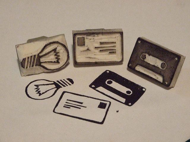Light Bulb, Letter and Cassette Tape Stamps