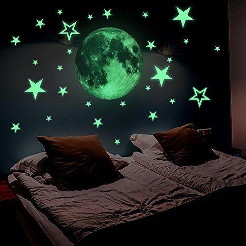 Wandsticker4u Wandtattoo Im Dunkeln Leuchtende Mond 30x30 Cm