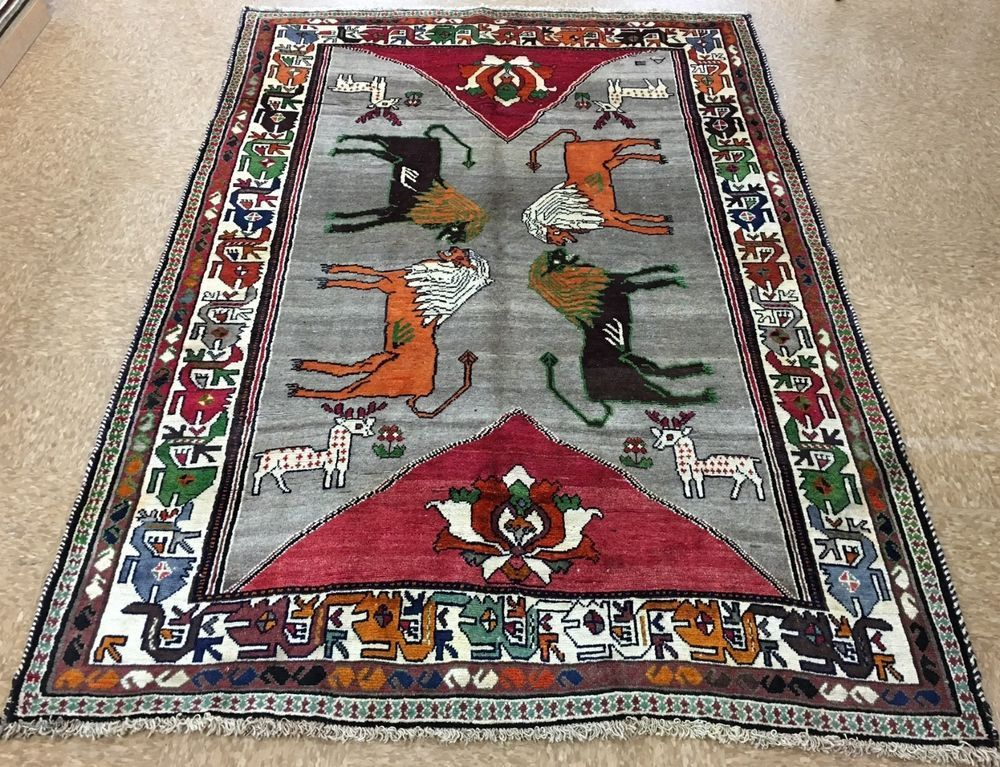 6x8 PERSIAN QASHQAI Tribal Hand Knotted Wool LIONS DEERS PICTORIAL Oriental  Rugu2026