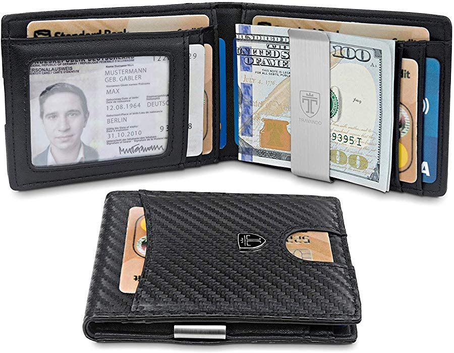 612a0f8952e837 TRAVANDO Slim Wallet with Money Clip SEATTLE RFID Blocking Card Mini Bifold  Men (Carbon) at Amazon Men's Clothing store: