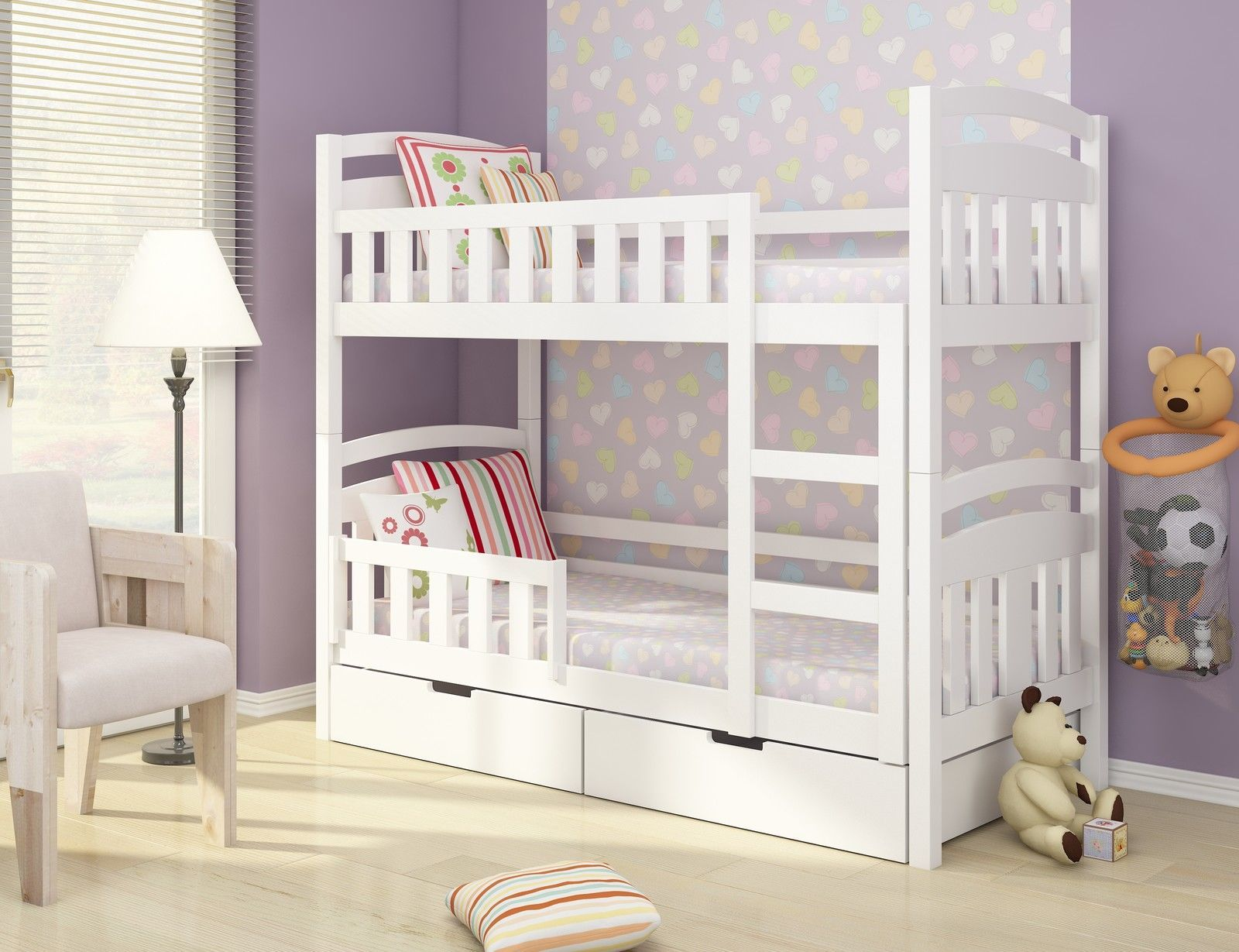 Lilly Brand White Pine Blue Wooden Bunk Bed With Mattresses