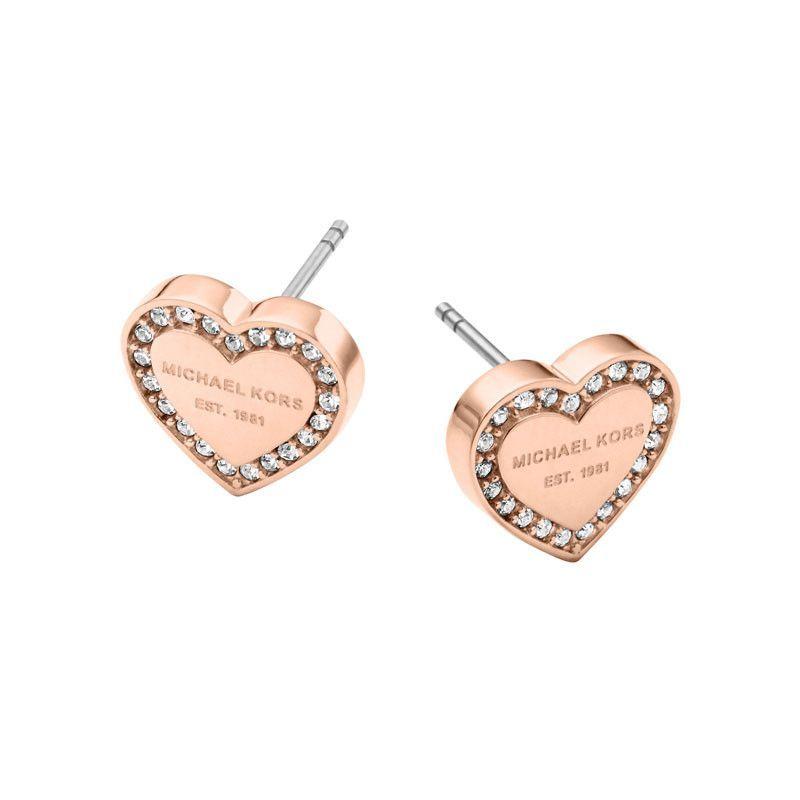 488c8758e Michael Kors Rose Gold Tone Signature Heart Earrings | jewelry ...