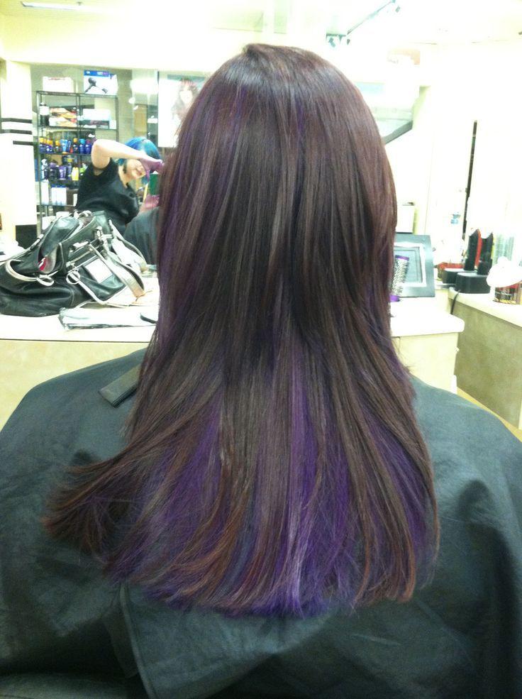 Deep Brown With Purple Peekaboos For Just A Splash Of Color And Fun Brown Color Deep Fu In 2020 Underlights Hair Purple Highlights Brown Hair Undercolor Hair