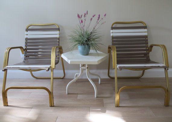 Vintage Mid Century Gold Aluminum Patio Chairs Pair Of