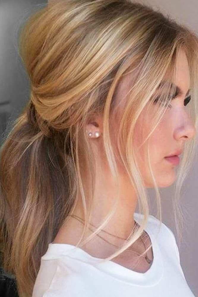 15 Easy Cute Hairstyles For Medium Hair Lovehairstyles Com Messy Ponytail Hairstyles Hair Styles Elegant Ponytail