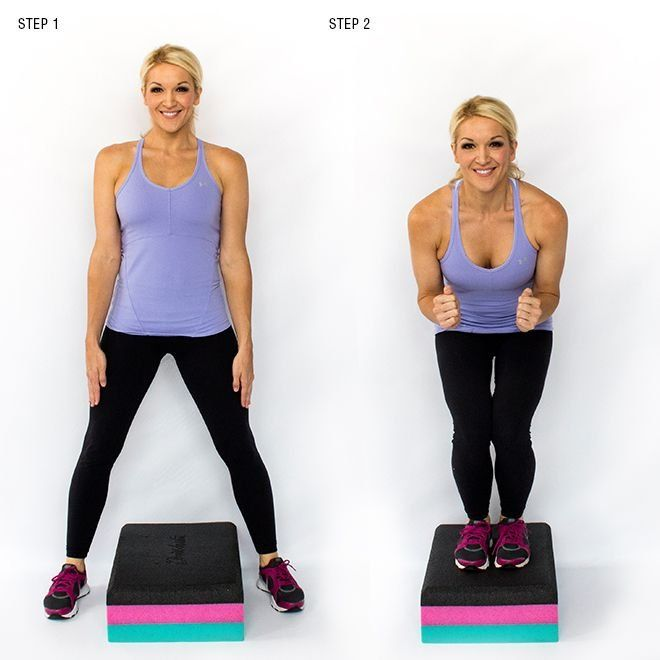 INWARD BOX JUMPS- For this, you will need either an exercise step or a low box at your gym. Start by straddling the step or box and jump both feet up and in at the same time, touching as they come together. Quickly step one foot off then the other, back to straddling and continue on with your inward jumps 12 times total