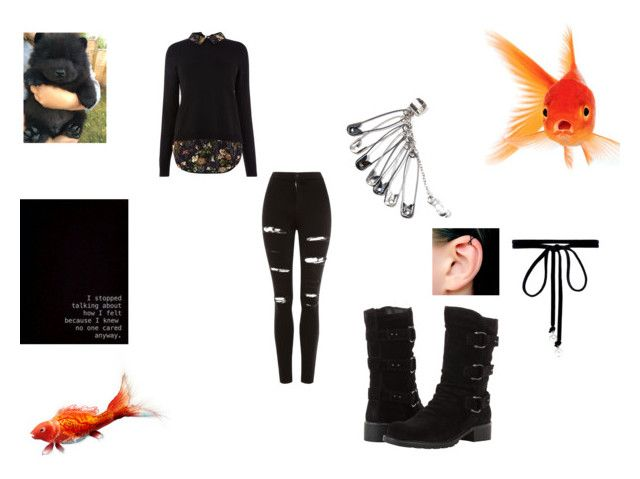 """""""Goth"""" by wiggywiggy05 on Polyvore featuring Topshop, Clarks, Joomi Lim, black, emo and goth"""
