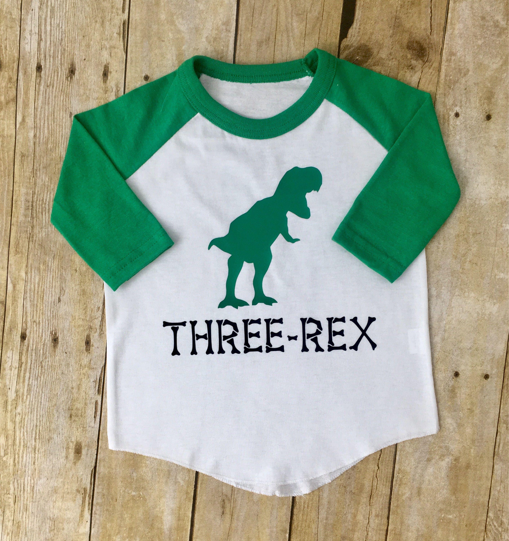 Three Rex Shirt For 3 Year Old Custom Birthday Dinosaur