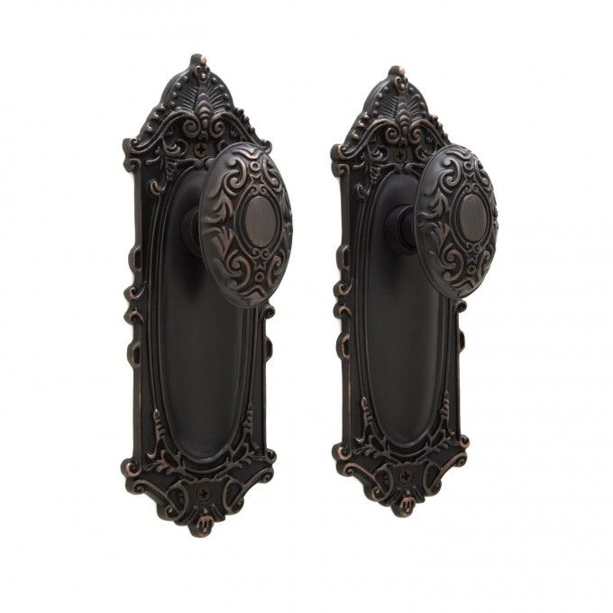 Victorian Door Knob & Plate Set - Privacy, Passage and Dummy ...