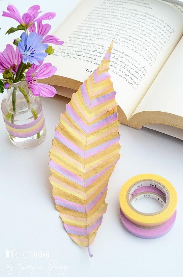 Washi tape leaf Recycled Crafts and DIY from Italy