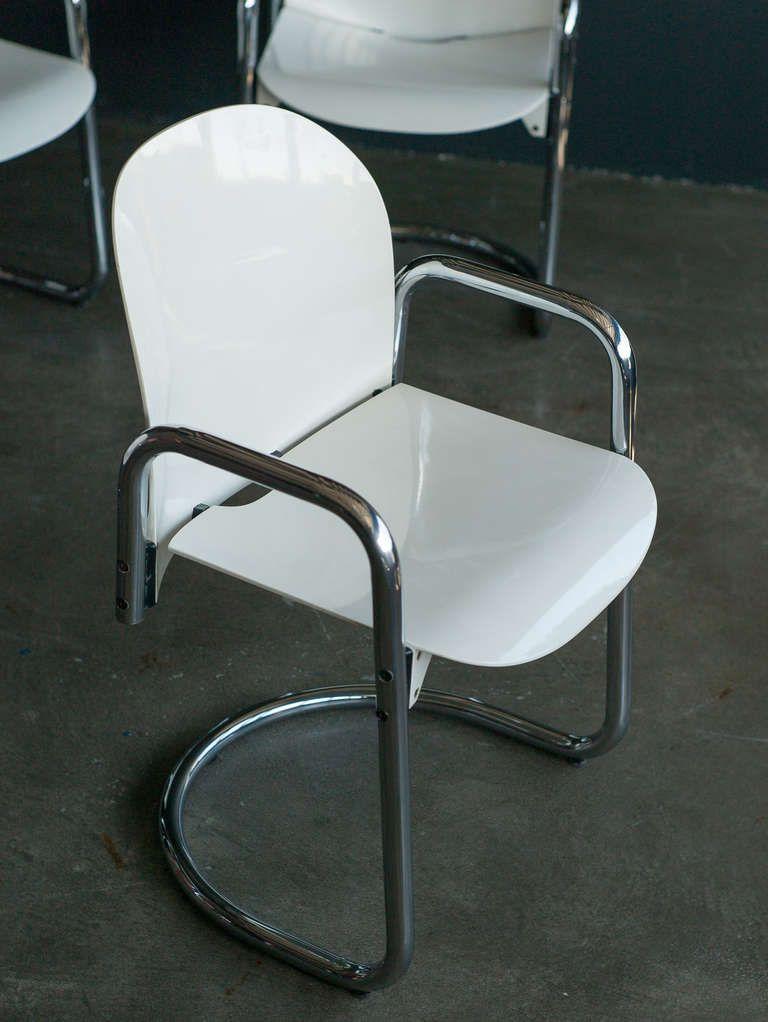 Afra & Tobia Scarpa; Chromed Tubular Steel and Molded Plastic 'Dialogo' Armchair for B & B Italia, c1970.