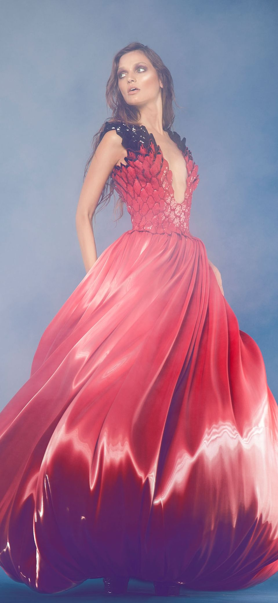 Jean louis sabaji couture fw red and black gown gowns