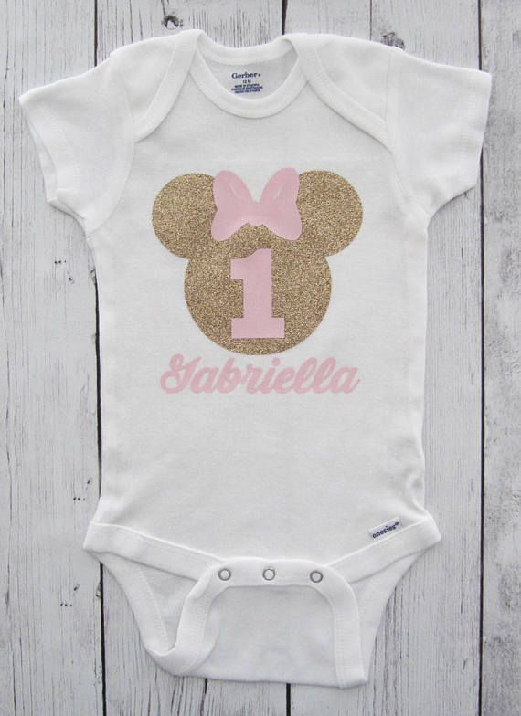 a28d42a3d4 Minnie Mouse First Birthday Onesie in pink and gold with headband ...