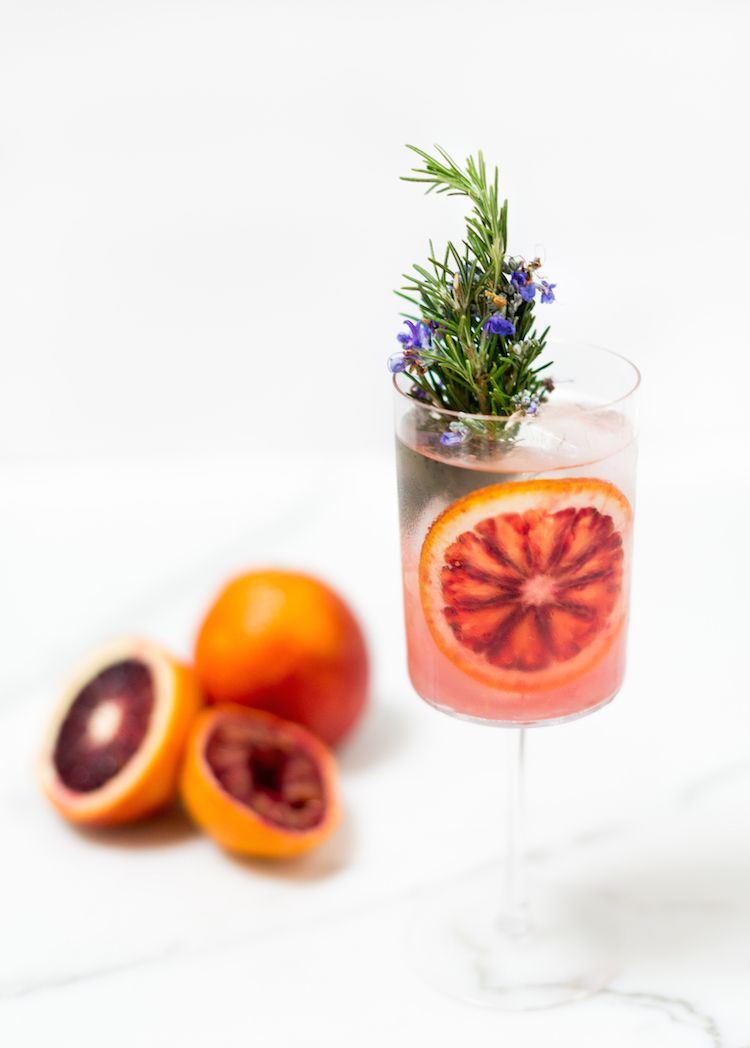 blood orange rosemary gin and tonics // recipe on craftandcocktails.co